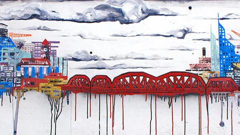 BROADWAY BRIDGE MIXED MEDIA