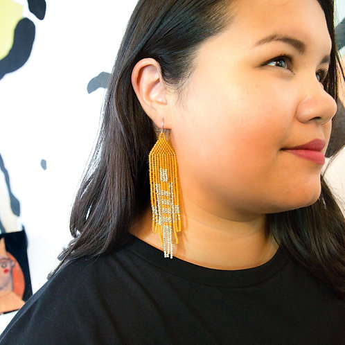 Marigold & Silver Seed Bead Earrings by Neighbor Jewelry