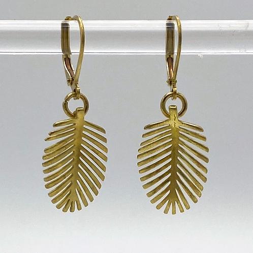 Brass Palm Leaf Earrings by Travelust