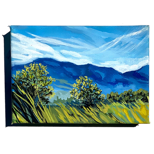 Pastoral Landscape in the Mountains Oil Panting on Canvas by Carla Deal