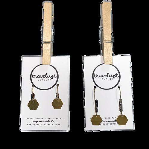 Brass Hexagon Earrings by Travelust