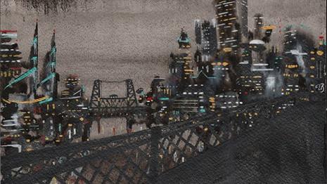 STEEL BRIDGE AT NIGHT
