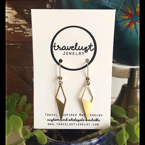 Brass Diamond Drop Earrings by Travelust