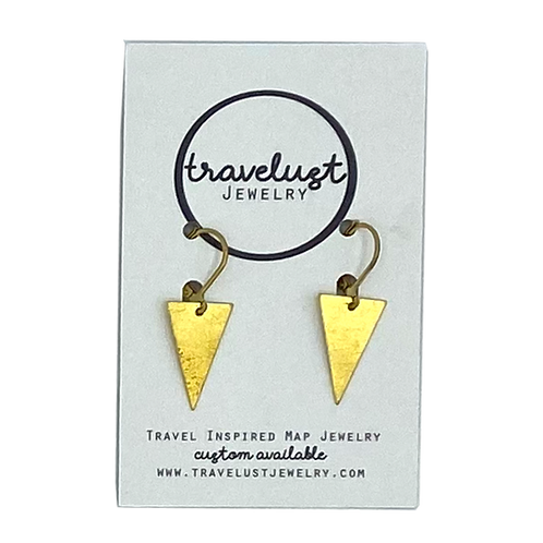 Brass Mini Inverted Triangle Drop Earrings by Travelust