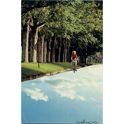 Bike Rider Handmade Original Collage by Lara Rouse