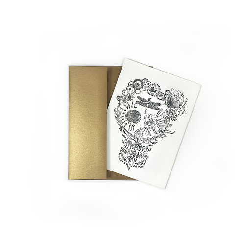 Botanical Skull Card by Rhiannon Leonard