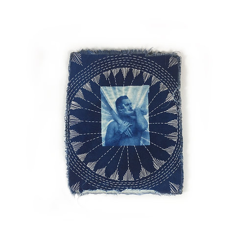 Katharine T Jacobs Embroidered Cyanotype