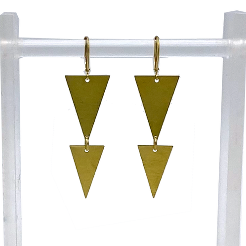 Double Inverted Triangle Brass Earrings by Travelust