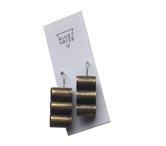 Stacked Brass Tube Earrings by Rivet & Rise