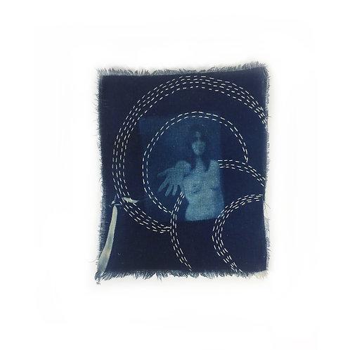 Katharine T. Jacobs Sashiko Style Stitched Cyanotype