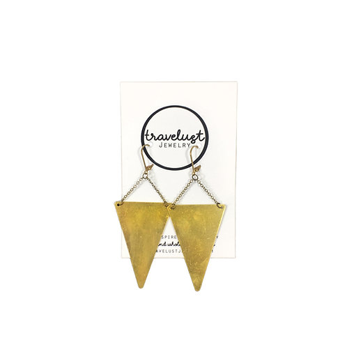 Brass Inverted Triangle Earrings by Travelust
