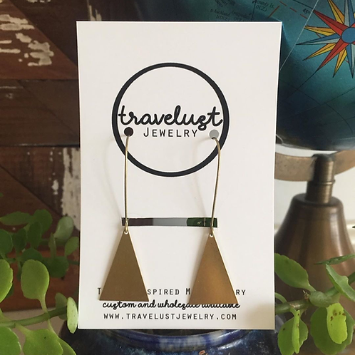 Brass Mini Triangle Drop Earrings by Travelust