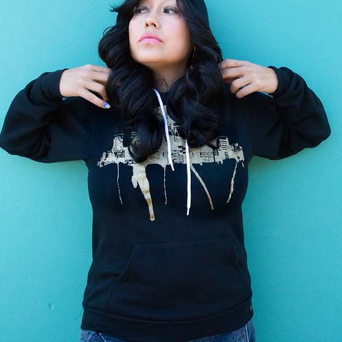 Portland Fremont Bridge Unisex Gold on Black Hooded Sweatshirt by Ursula Barton