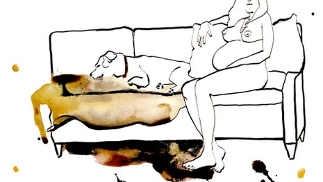 LOUNGING WITH DOG