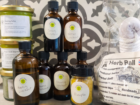 Limited handmade herbal products available for client purchase