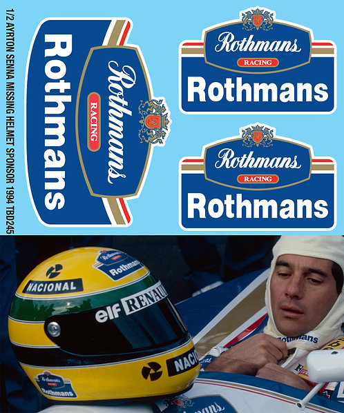1/2 Ayrton Senna Helmet Sponsor 1994 Decals TB Decal TBD245