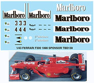 1/43 MARLBORO  FERRARI F300 1998 SPONSOR MICHAEL SCHUMACHER DECALS TB DECAL TBD139