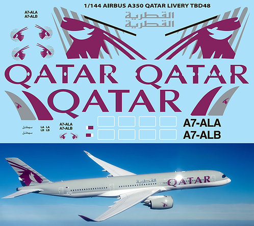 1/144 Airbus A350  Qatar  Livery for Revell Decals