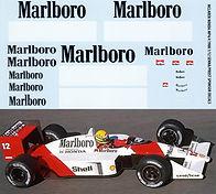 1/12 MARLBORO MCLAREN HONDA MP4/4  AYRTON SENNA  PROST 1988 DECALS TB DECAL TBD35