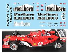 1/43 MARLBORO FERRARI F1 F2004 MICHAEL SCHUMACHER SPONSOR DECALS TB DECAL TBD125