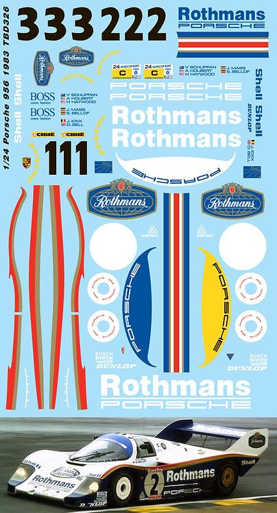 1/24 Porsche 956 1983 Le Mans Decals for Tamiya Rothmans  DECAL TBD326