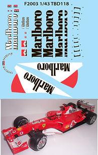 1/43 MARLBORO FERRARI F1 F2003 MICHAEL SCHUMACHER SPONSOR DECALS TB DECAL TBD118