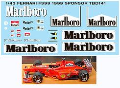 1/43 MARLBORO  FERRARI F399 1999 SPONSOR MICHAEL SCHUMACHER DECALS TB DECAL  TBD141