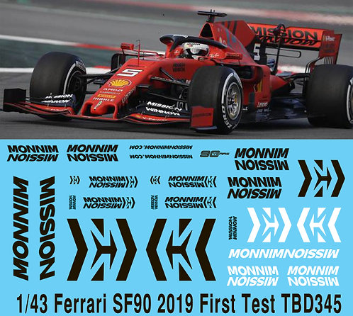 1/43  2019 Formula 1 Ferrari SF90 Test  MISSION WINNOW DECALS TB DECAL TBD345
