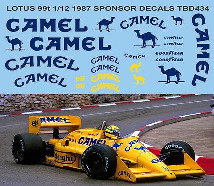 1/12  Tobacco  Decal for LOTUS 99T Ayrton Senna Satoru Nakajima  TBD434B
