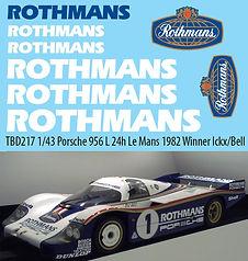1/43 ROTHMANS PORSCHE 956 L24H LE MANS 1982 WINNER ICKX/BELL DECALS TB DECAL TBD217
