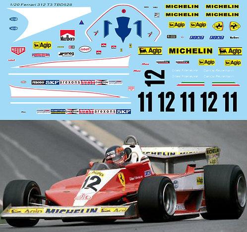 1/20 Decals for Ferrari 312T3 Villeneuve Reuteman TB Decal TBD528