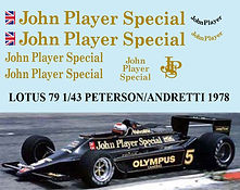 1/43 JHON PLAYER SPECIAL LOTUS FORD 79 1978 PETERSON ANDRETTI JARIER DECALS TB DECAL TBD55