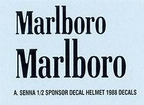 1/2  MATLBORO AYRTON SENNA SPONSOR  FOR HELMET 1988  DECALS TB DECAL TBD12