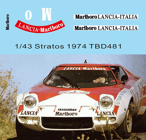 1/43 Sponsor Decals for Lancia Stratos 1974 J.Claude M.Petit TB Decal TBD481