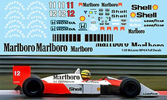 1/20 MARLBORO  McLaren MP4/4 FULL  FOR TAMIYA  AYRTON SENNA PROST DECALS TB DECAL  TBD66