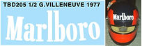 1/2 MARLBORO  GILLES VILLENEUVE 1977 HELMET BELL MINI SPORTS DECALS TB DECAL TBD205