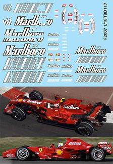 1/18 MARLBORO  FERRARI F1 F2007 F 2007 SPONSOR RAIKKONEN MASSA DECALS TB DECAL TBD117
