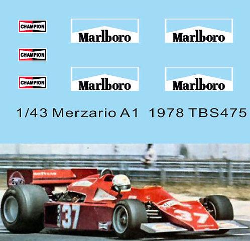 1/43 Sponsor Decals for Merzario A1  1978 Arturo Merzario TB Decal TBD475