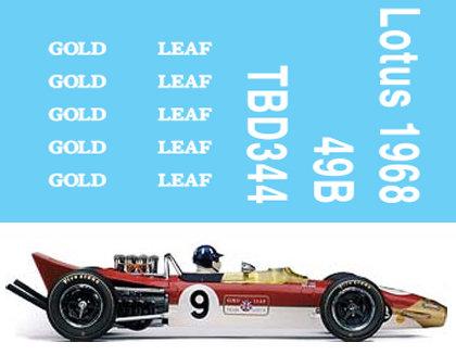 1/43 Formula 1 Graham Hill Lotus 49B GOLD LEAF DECALS TB DECALS TBD344