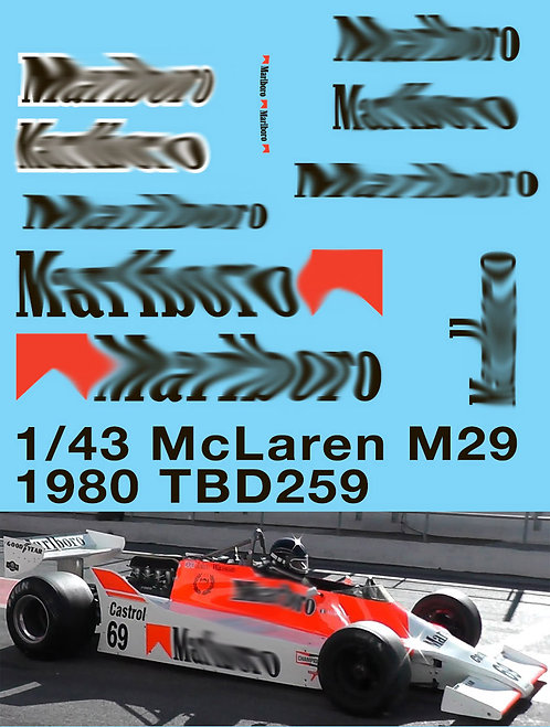 1/43 McLaren M29 F1 1979 1980  Decals TB Decal TBD259