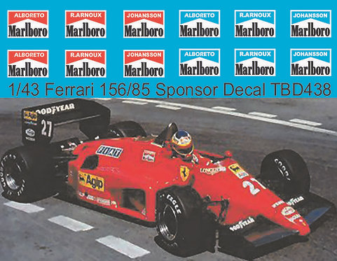 1/43 Decals for Ferrari 156/85 Alboreto R.Arnoux Johanson Decal TBD438
