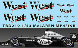 1/43 WEST MCLAREN MERCEDES MP4/19B  SPONSOR  DECALS TB DECAL  TBD219