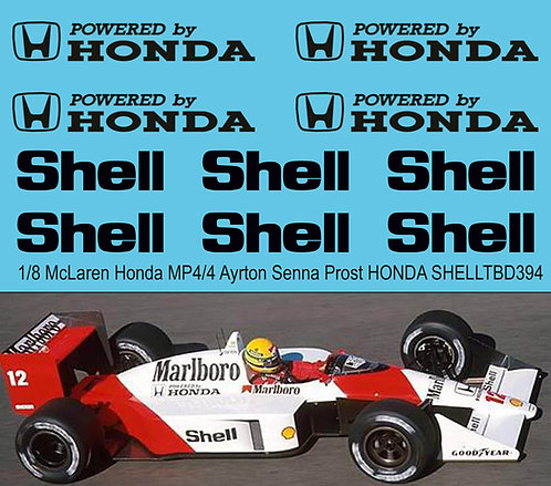 1/8 McLaren Honda MP4/4 Ayrton Senna Prost HONDA SHELL Sponsor Decals for De Ago