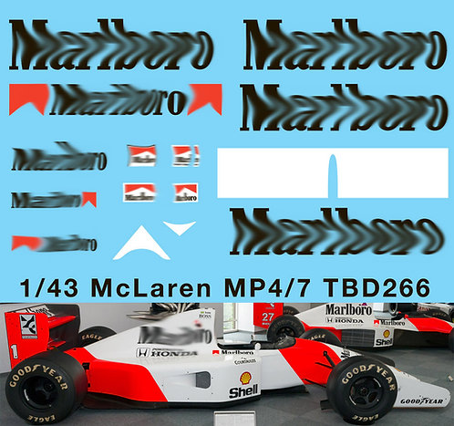 1/43 McLaren Honda MP4/7 F1 1992  Decals TB Decal TBD266