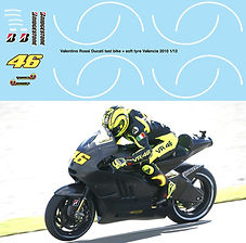 1/12 VALENTINO ROSSI VALENCIA 2010 TEST BIKE DECALS TB DECAL TBD80