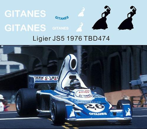 1/43 Sponsor decals for Ligier JS5 1976 Jacques Lafite TB Decal TBD474