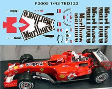 1/43 MARLBORO FERRARI F1 F2005 2005 MICHAEL SCHUMACHER SPONSOR DECALS TB DECAL  TBD122
