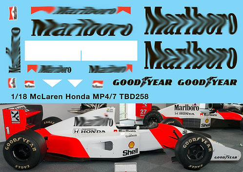 1/18 McLaren Honda MP4/7 F1 1992  Decals TB Decal TBD258