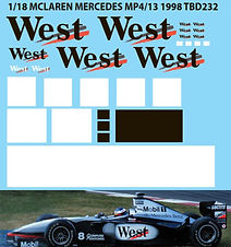 1/18 WEST  DECALS McLAREN MERCEDES MP4/13  1998  MC LAREN MISSING DECAL TBD232