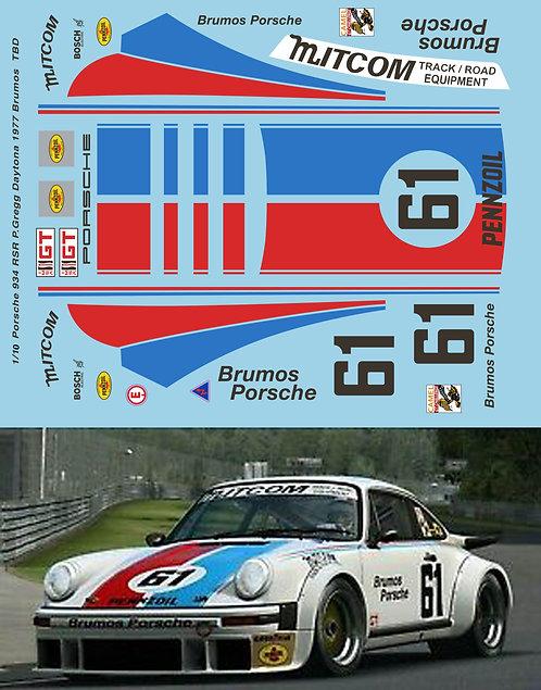1/10 Porsche 934 RSR P.Gregg Daytona 1977 Brumos Decals TB Decal TBD469